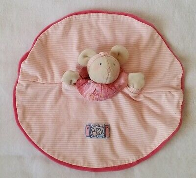 Doudou plat rond Souris Lila Patachon rayé rose blanc MOULIN ROTY MR-68