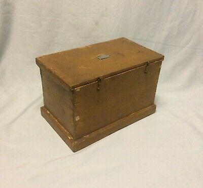 """Antique Miniature Wood Document Box Mustard Paint W/Silver Name Plate""""H.H.SIMMS"""""""