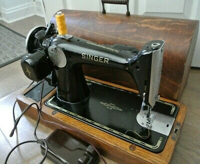 Vintage Singer 201K2 Electric Sewing Machine(SEE 4 LAYERS OF LEATHER SEWN)