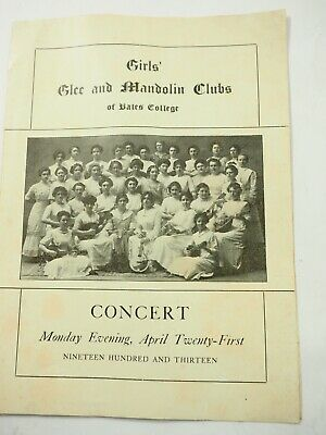 Girls Glee and Mandolin Clubs of Bates College Concert  Program April 21st 1913