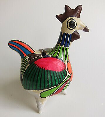 Vintage Mexican Pottery Chicken Coin Bank Hand Painted Red Clay Folk Art 1976
