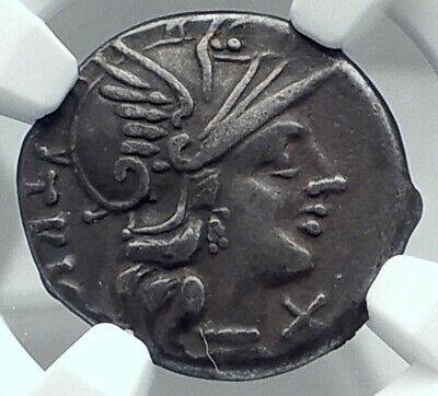 Roman Republic Authentic Ancient Silver Roman Coin DIOSCURI GEMINI NGC i77877