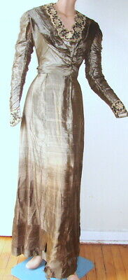 ANTIQUE VICTORIAN/EDWARDIAN ELEGANT DRESS - for study or display only