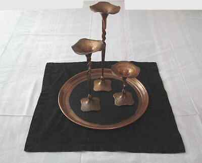 Vintage Arts & Crafts Copper Candlesticks Set of 3 Tapers Hammered Twist Stems