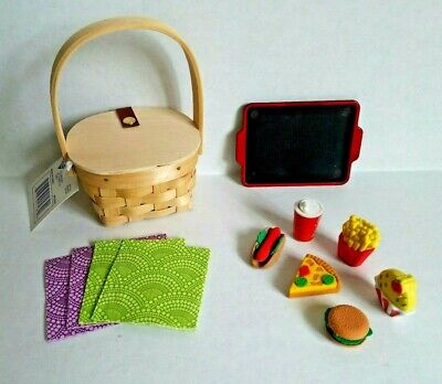 "Mini Picnic Basket or School Lunch w/ Food Erasers for 18"" American Girl Dolls"