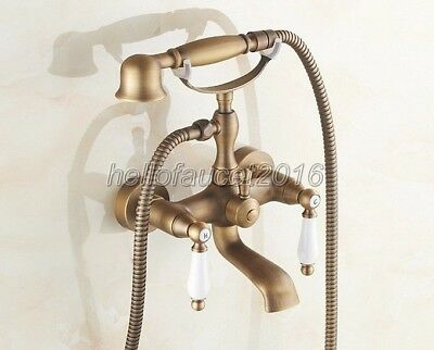 Antique Brass Clawfoot Bathroom Tub Faucet Telephone Style Hand Shower ltf153