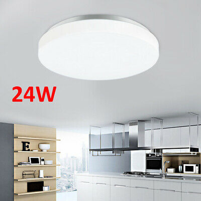 24W Bright Round LED Ceiling Down Light Panel Wall Kitchen Bathroom Lamp Cool
