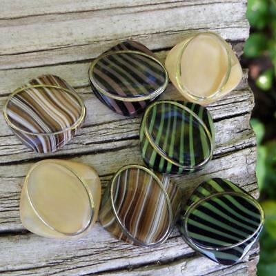 Vintage Mixed Lot Assortment of Striped Striated Glass Cabs Cabochons Moonglows
