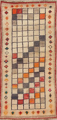 Vintage Checked Color-full Gabbeh Persian Modern Oriental Hand-Knotted Rug 3'x5'