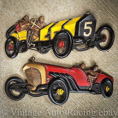 Vintage 1966 Sexton Metal Wall Plaques Indy 500 Formula 1 Race Cars Marmon Wasp