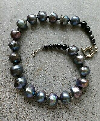 Vintage Large Graduated Chinese Fresh Water Cultured Pearl Beaded Necklace.