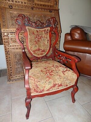 Antique Chair, Stunning Sculpted Wood Artistic Design, Home Decor, Early 1900's