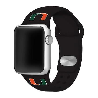 Affinity Bands Miami Hurricanes Black Silicone Sport Band Compatible with 42mm/4