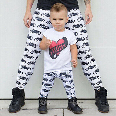 Toddler Infant Baby Kids Girls Boys Print Trousers Family Pants Casual Clothes