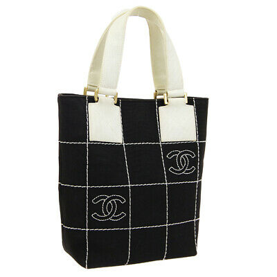9856b44d2536 Authentic CHANEL Wild Stitch CC Logos Hand Bag Black White Canvas Vintage  A44534
