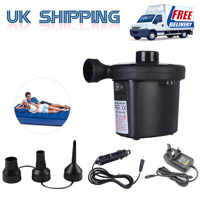 2in1 Electric Air Bed Pump Camping Paddling Pool Pond Mains Inflator Home UK set