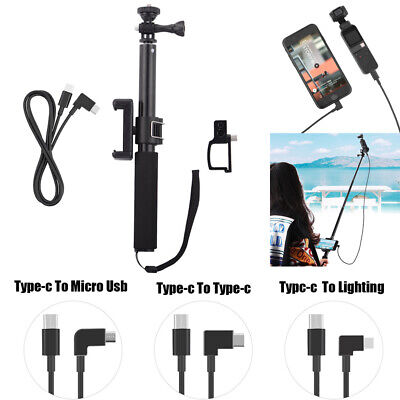 For DJI OSMO POCKET Phone Clip + Selfie Stick + Cable + Bracke Accessories Kit