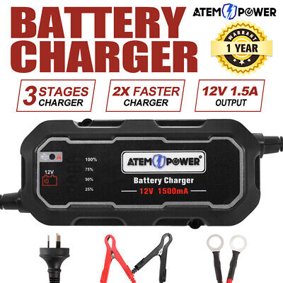 Smart Battery Charger 1.5A 12V Automatic Sla Car Truck Boat Motorcycle Agm