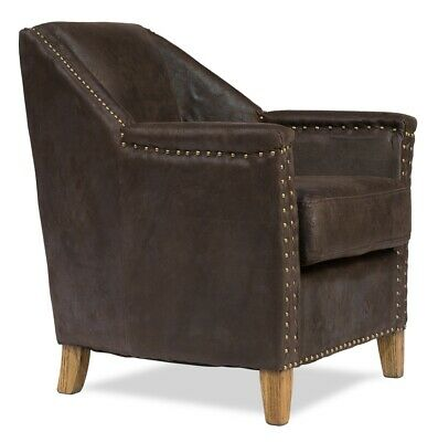 """28"""" W Guido Occassional Chair Brass Nail Head Trim Top Grade Leather Oak Frame"""