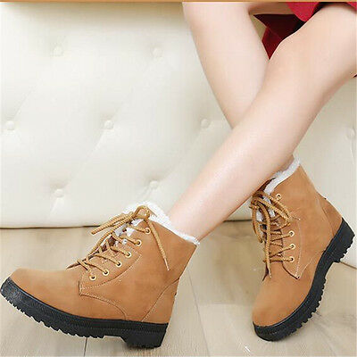 AU Women Winter Flats Fur Lined Warm Snow Ankle Boots Round Toe Lace Up