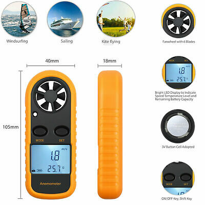 LCD Digital Anemometer Thermometer Temperature Meter Air Wind Speed Tester Gauge