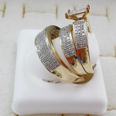 His and Her Engagement Bridal Wedding Band Trio Ring Set 14K Yellow Gold Over