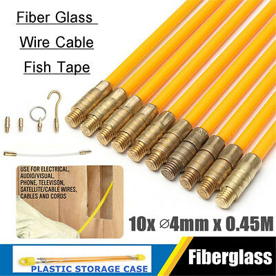 10Pcs 4mm 0.45M Fiberglass Wire Cable Rod Electrician Push Puller Duct Fish