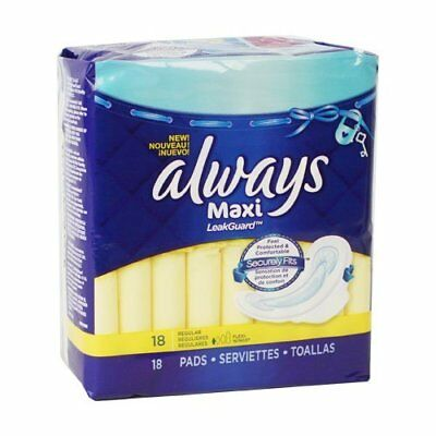 Always, Maxi Pads with LeakGuard, Regular - 18 ea, 2 Pack