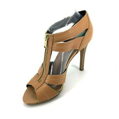 9753446bcd Jessica Simpson Strappy Front Zip High Heel Tan Size 8 Leather Boho Stiletto
