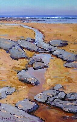 BEACH Painting, vertical beach, coastline on canvas, Original oil painting,