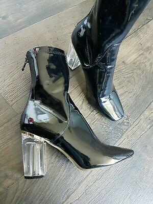 7a2a2f92f29 Bebo Women's Black Patent Leather Boots Acrylic Clear Blocked Heels UK 5