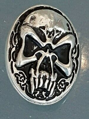 "5 x NORDIC SKULL ""Punisher"" SILVER PLATED concho 20x30 mm NEW  *FREE SHIPPING*"