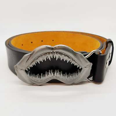 Shark Jaws Mouth Sharp Teeth Fish Buckle & Belt Outlaw Enamel Biker Skull Metal
