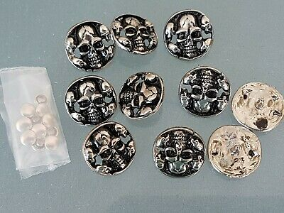 10 x ROUND SKULL concho ANTIQUE SILVER PLATED 20 x 20mm NEW *FREE SHIP""