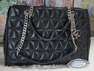 5db89b2ed1a9 NWT MICHAEL KORS VIVIANNE LARGE Quilted Leather Tote Shoulder Bag In BLACK  $498