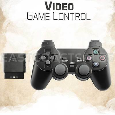 For Sony PS2 2.4G Wireless Twin Shock Game Controller Joystick Joypad Black