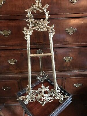 Antique Vintage Quality Large Solid Brass Ornate Easel Stand