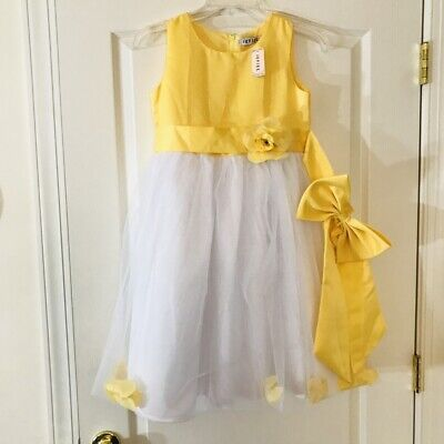 IEFIEL GIRLS White & Yellow FLOWER GIRL GOWN SIZE 12