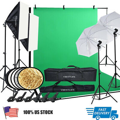 VBESTLIFE Photography Studio Kit Backdrop Stand Softbox Umbrella Lighting Set
