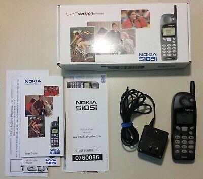 Nokia 5185i Verizon Vintage Cell Phone Working w/ Box Manual and Wall Charger