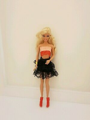 New sexy complete outfit clothes dress black peach for your Barbie doll AU CC6