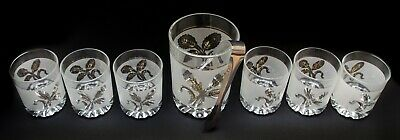 Barware Set Glass Ice Bucket With Tong 6 Matching Drinking Glasses Italy Vintage