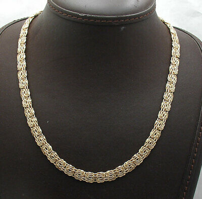 """18"""" Technibond All Shiny Byzantine Chain Necklace 14K Yellow Gold Clad Silver"""