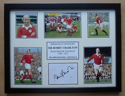 Sir Bobby Charlton Signed Manchester United Multi Picture Career Display (15528)