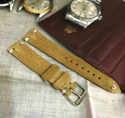 Distressed Italian Genuine Suede Leather Watch Strap H/Made 18 19 20 21 22mm Tan