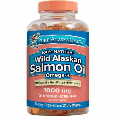 Pure Alaska Omega-3 Wild Alaskan Salmon Oil 1000 mg Softgels, 210 Count