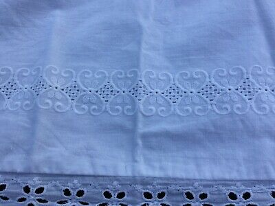 One antique white Embroidered pillowcase Vintage Pillow Slip  Lace Trim