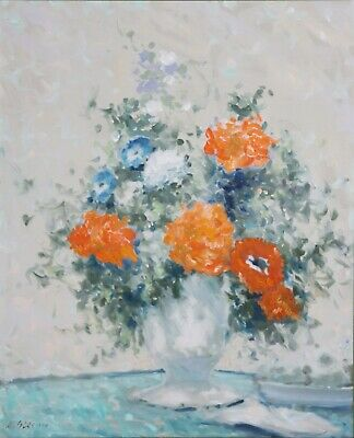 ANDRE GISSON-NY Impressionist-Original Signed Oil-Blue/Orange Floral Still Life
