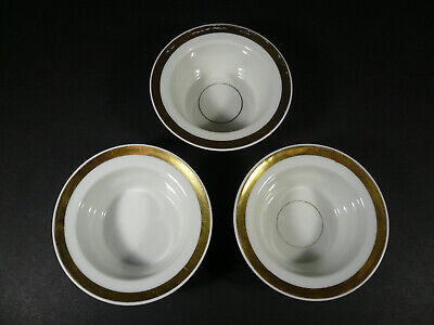 WM GUERIN LIMOGES France FINGER BOWLS White with Gold Stripe Set of 3