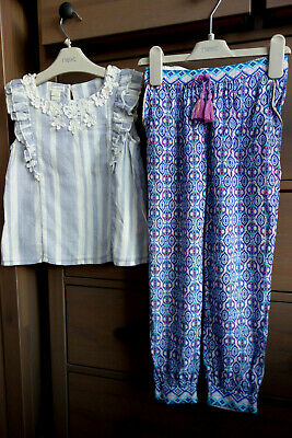 5-6 yrs MONSOON *NEW* outfit Cotton Blouse and woven Travel trousers